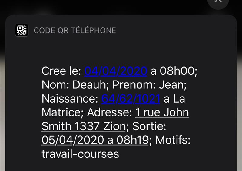 QR Code Attestation de déplacement dérogatoire