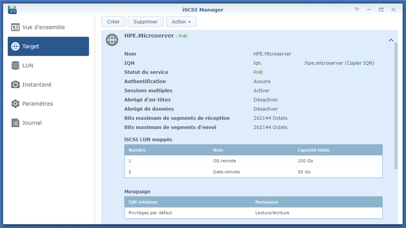 iSCSI Synology LUN Multiples