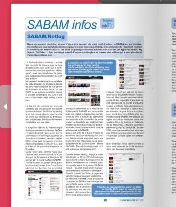 sabam magazine septembre 2010 62 netlog CJUE