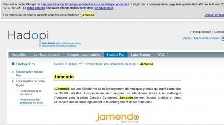 jamendo hadopi pur cache google