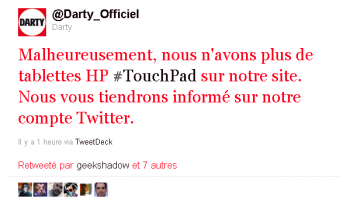 HP Touch Pad Darty Twitter