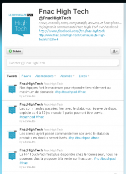 Fnac HP Touchpad Twitter
