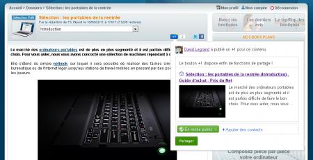 Google+ +1 Partage Prix du Net