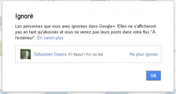 Google+ Ignoré Sébastien Gavois