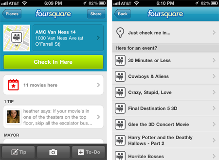 Foursquare checkin lieux evenements