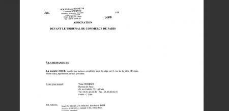 assignation tribunal de commerce paris free numericable