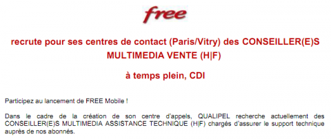 Free Mobile recrutement conseillers