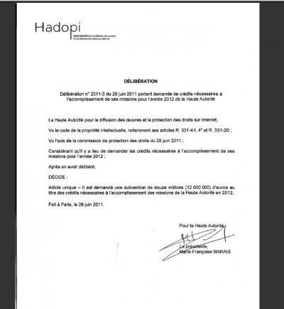 hadopi budget 2012