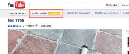 YouTube modifer une vidéo