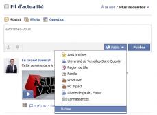 Facebook paramètre publication