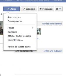 Facebook boutons amis abonné