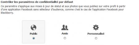 Facebook parametres confidentialité par défaut