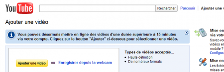 YouTube limite 15 mn 3D