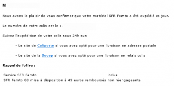 SFR Home 3G Femto-Cell Mail