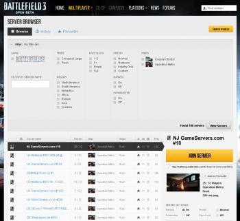 Battlefield 3 Open Beta Servers