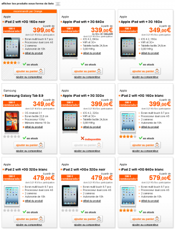 Orange tablette offre