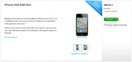 iPhone 3GS 8 Go Tarif