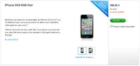 iPhone 3GS 8 Go Tarif