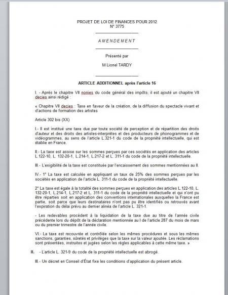 Lionel Tardy amendement copie privée