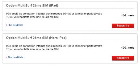 SFR Multisurf 2ème carte SIM