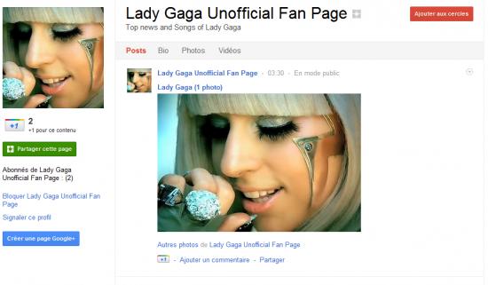 Lady Gaga fan page Google+