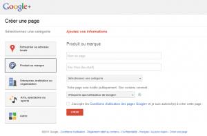 Créer page Google+