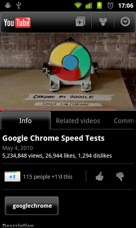 YouTube application Android +1