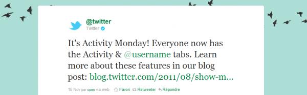 twitter onglet activité @votrepseudo