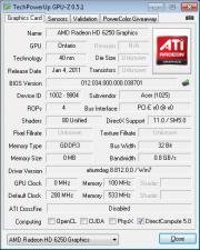 GPU-Z Acer Aspire One 522 AMD Fusion C-50