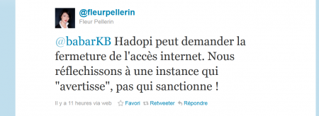 Fleur Pellerin Hadopi François Hollande 2012