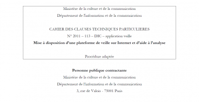 ministère culture appel d'offres internet veille
