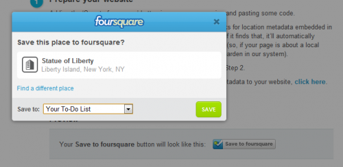 Foursquare bouton save