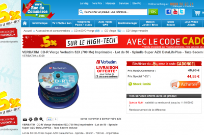 copie privée CD vierge RueDuCommerce