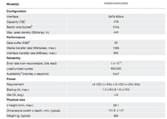 Hitachi 5K4000 4 To