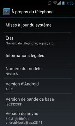 Android 4.0.3 Nexus S Screenshot