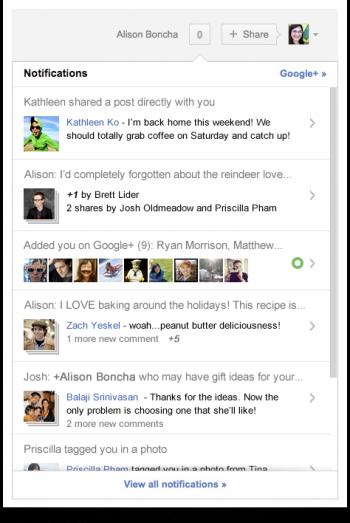 Google+ nouvautés notification