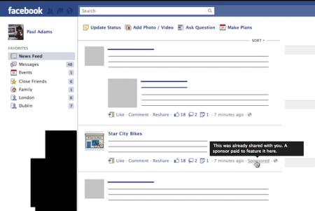 Facebook Publicité Flux 2012