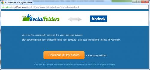 Social Folders Connexion Facebook
