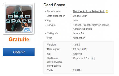 Dead Space Samsung Apps
