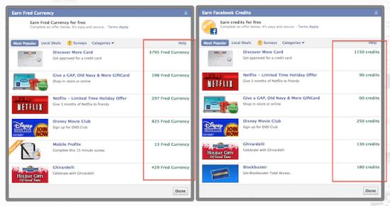 Facebook crédits monnaie virtuelle