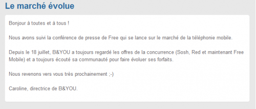 B&You réaction Free Mobile