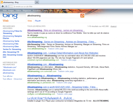 microsoft bing allostreaming