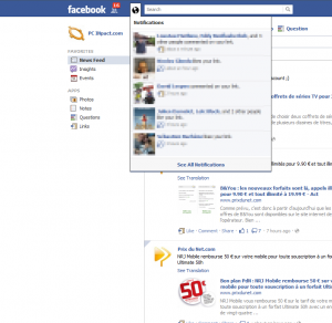 Facebook Notification Nouveau systeme