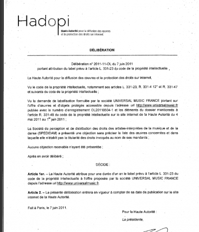 objections spédidam HADOPI label PUR