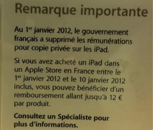 copie privée remboursement Apple ipad