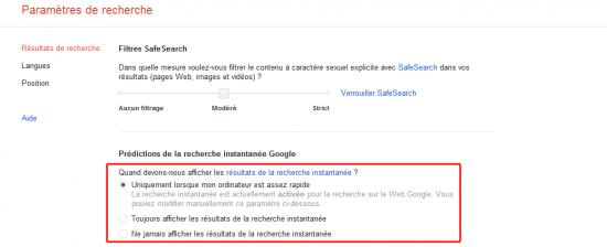 Google préférence recherche instantanée