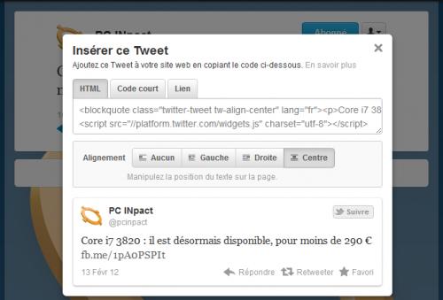 Twitter insertion de code