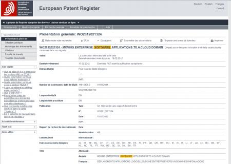 Extrait d'un brevet OEB