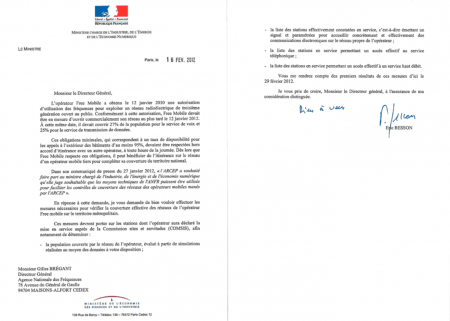 Lettre Besson ANFR audit Free Mobile