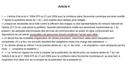 blocage article 4 loppsi sans délai